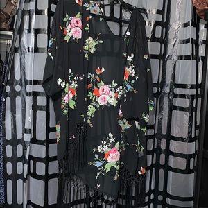 Xhilaration Fringe Kimono Floral